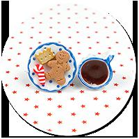 christmas plug-in earrings coffee with sweets