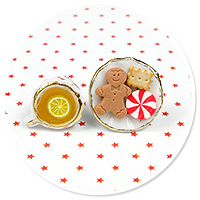 christmas plug-in earrings tea with sweets