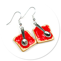 earrings toast with jam