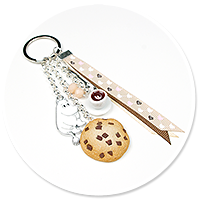 keyring with Moomin, coffee and cookie