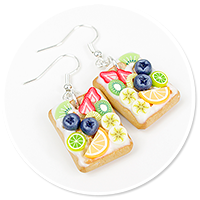 earrings waffles with fruits