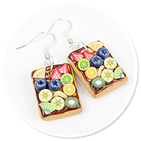 earrings waffles with fruits no. 3
