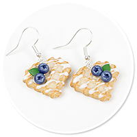 earrings waffles with blueberries no. 3