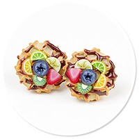 plug-in earrings waffles with friuts no. 4