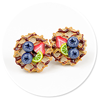 plug-in earrings waffles with friuts no. 9