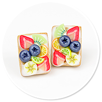 plug-in earrings waffles with friuts no. 7