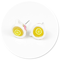 plug-in earrings with mug of tea