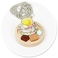 necklace wood tray with sweets