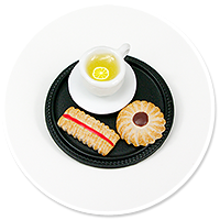 brooch of  tray with tea and sweets no. 3