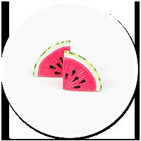 plug-in earrings watermelons