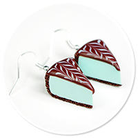 kolczyki miętowy sernik z czekoladą