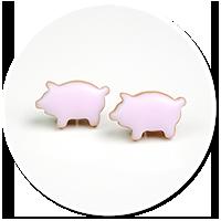 kolczyki wtykane różowe świnki