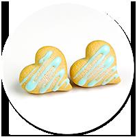 kolczyki wtykane ciasteczka z lukrem
