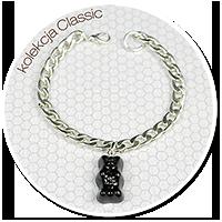 bransoleta łańcuch z czarnym miśkiem