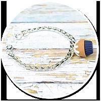 bransoleta łańcuch z granatową babeczką