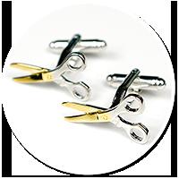 spinki do mankietów dla fryzjera (nożyczki)