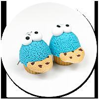 kolczyki babeczki ciasteczkowy potwór