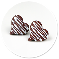 kolczyki wtykane czekoladowe serca