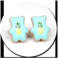 kolczyki wtykane misie z ananasem nr 2