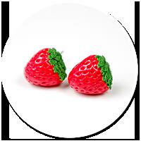 kolczyki wtykane truskawki