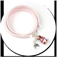 różowa bransoletka z kremem czekoladowym