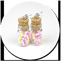 kolczyki słoik z cukierkami