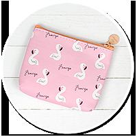 różowy portfelik z flamingami