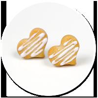 kolczyki mini ciasteczka serca z lukrem