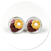 kolczyki wtykane talerzyki z ciasteczkami