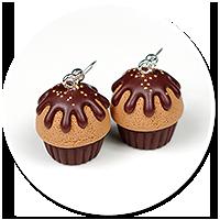 kolczyki czekoladowe babeczki