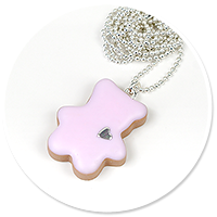 necklace teddy bear (pink)