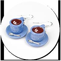 kolczyki kolorowe filiżanki z kawą nr 2
