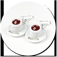 kolczyki białe filiżanki z kawą nr 2