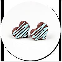 kolczyki wtykane czekoladowe serduszka nr 3