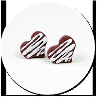 kolczyki wtykane czekoladowe serduszka nr 2