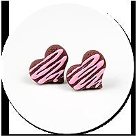 kolczyki wtykane czekoladowe serduszka nr 4