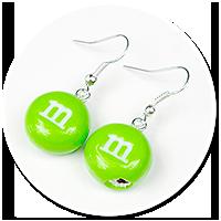 kolczyki zielone m&ms