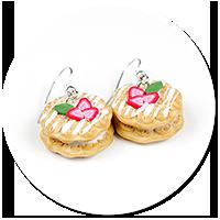 kolczyki gofry z truskawkami