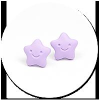 kolczyki wtykane fioletowe gwiazdki