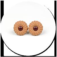 kolczyki okrągłe wtykane herbatniki nr 2
