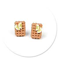 earrings rectangle waffles with fruits
