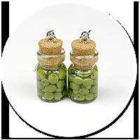 kolczyki słoik z oliwkami