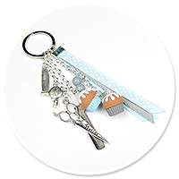 keyring with cupcakes (for hairdresser) no. 3