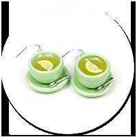 kolczyki zielone filiżanki z herbatą