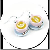 kolczyki niebieskie-różowe filiżanki z herbatą