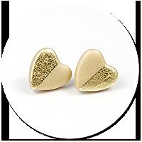 kolczyki wtykane metaliczne serca nr 3