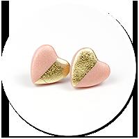 kolczyki wtykane metaliczne serca nr 5