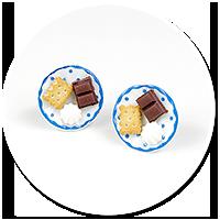 kolczyki wtykane talerzyki ze słodyczami nr 2