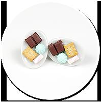 kolczyki wtykane talerzyki ze słodyczami nr 3