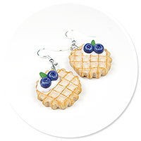 earrings waffles with blueberries